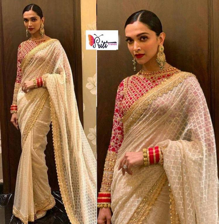 d99d530d606f1a Deepika Padukone White Designer Saree – Priti Trendz online fashion ...