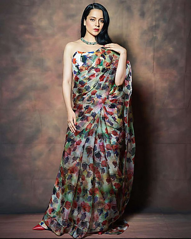 Kangana Ranaut Designer Printed Saree – Prititrendz